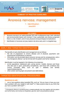 Anorexie mentale  prise en charge - Summary Anorexia nervosa - Identification