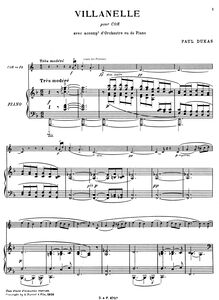 Partition Score (cor et piano), Villanelle, Dukas, Paul