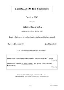 Bac 2015 - Histoire-Geo - Bac ST2S