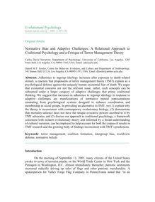 Normative bias and adaptive challenges: A relational approach to coalitional psychology and a critique of terror management theory