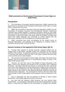 Appendix II CEBS 2010 -324 - CEBS response to EU COM Green Paper on  Audit Policy