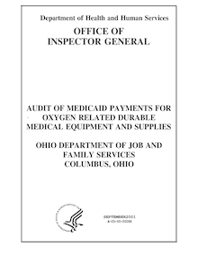Audit of Medicaid Payments for Oxygen Related Durable Medical  Equipment and Supplies - Ohio Department