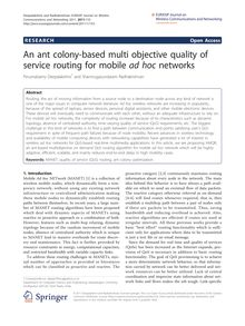 An ant colony-based multi objective quality of service routing for mobile ad hocnetworks