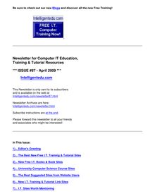 April 2009 Newsletter for Computer IT Education, Training & Tutorial  Resources