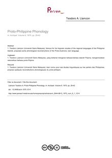 Proto-Philippine Phonology - article ; n°1 ; vol.9, pg 29-42