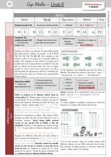 Mathématiques CP – Période 2 - Unité 6 Préparation des séances