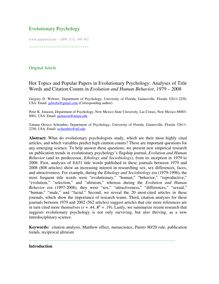 Hot topics and popular papers in evolutionary psychology: Analyses of title words and citation counts in Evolution and Human Behavior, 1979 – 2008