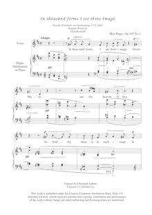 Partition en thousand forms I see thine Image, 2 Spiritual chansons, Op.105