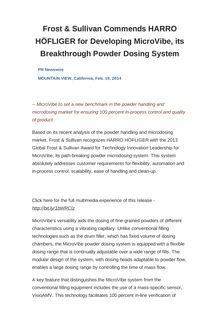 Frost & Sullivan Commends HARRO HÖFLIGER for Developing MicroVibe, its Breakthrough Powder Dosing System