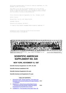Scientific American Supplement, No. 620,  November 19,1887