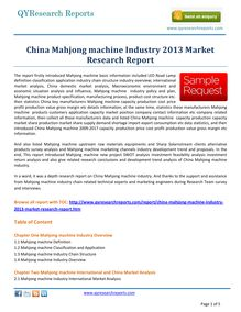 Market Report on   China Mahjong machine Market 2013 by qyresearchreports.com