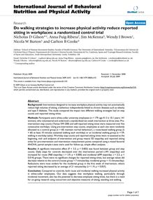 Do walking strategies to increase physical activity reduce reported sitting in workplaces: a randomized control trial