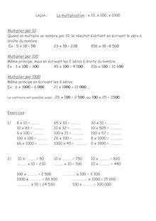 Cours sur la multiplication par 10, 100 et 1000
