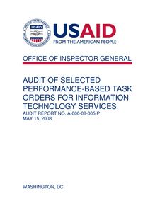 Audit of Selected Performance-Based Task Orders for Information Technology Services